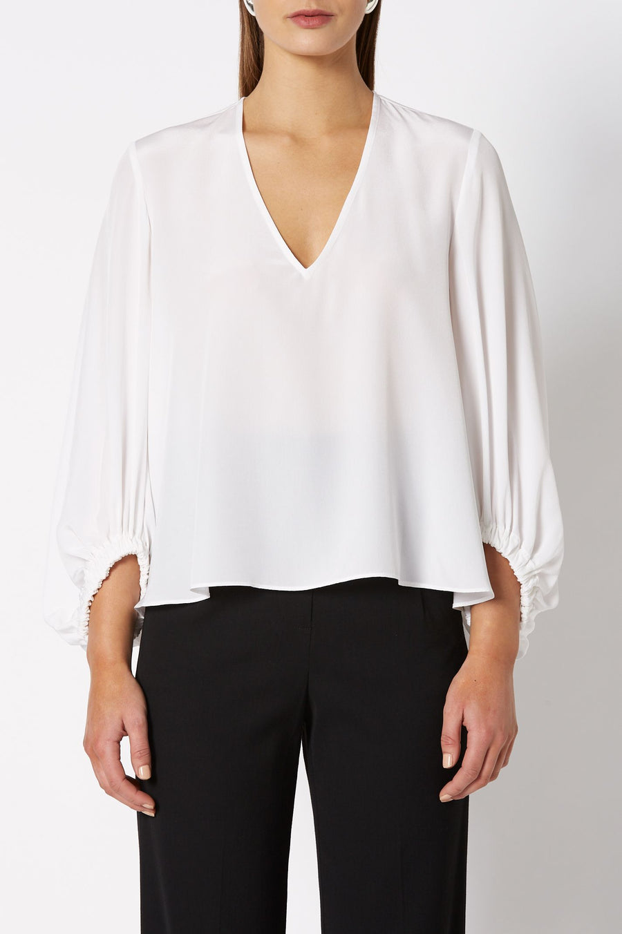 CDC V Neck Blouse White, Relaxed Fit, ¾ Sleeves, elasticized cuffs, V- neckline