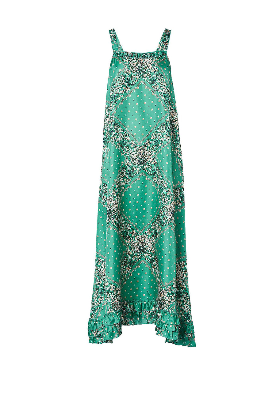 SILK BANDANA PAISLEY DRESS VERDE