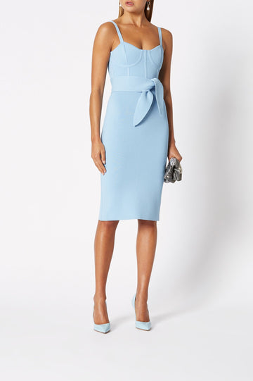 CREPE KNIT BUSTIER DRESS PALE BLUE, Slim fit, Tank straps
