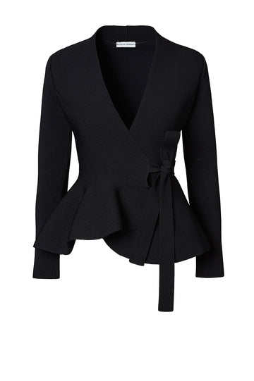 CREPE KNIT WRAP JACKET BLACK