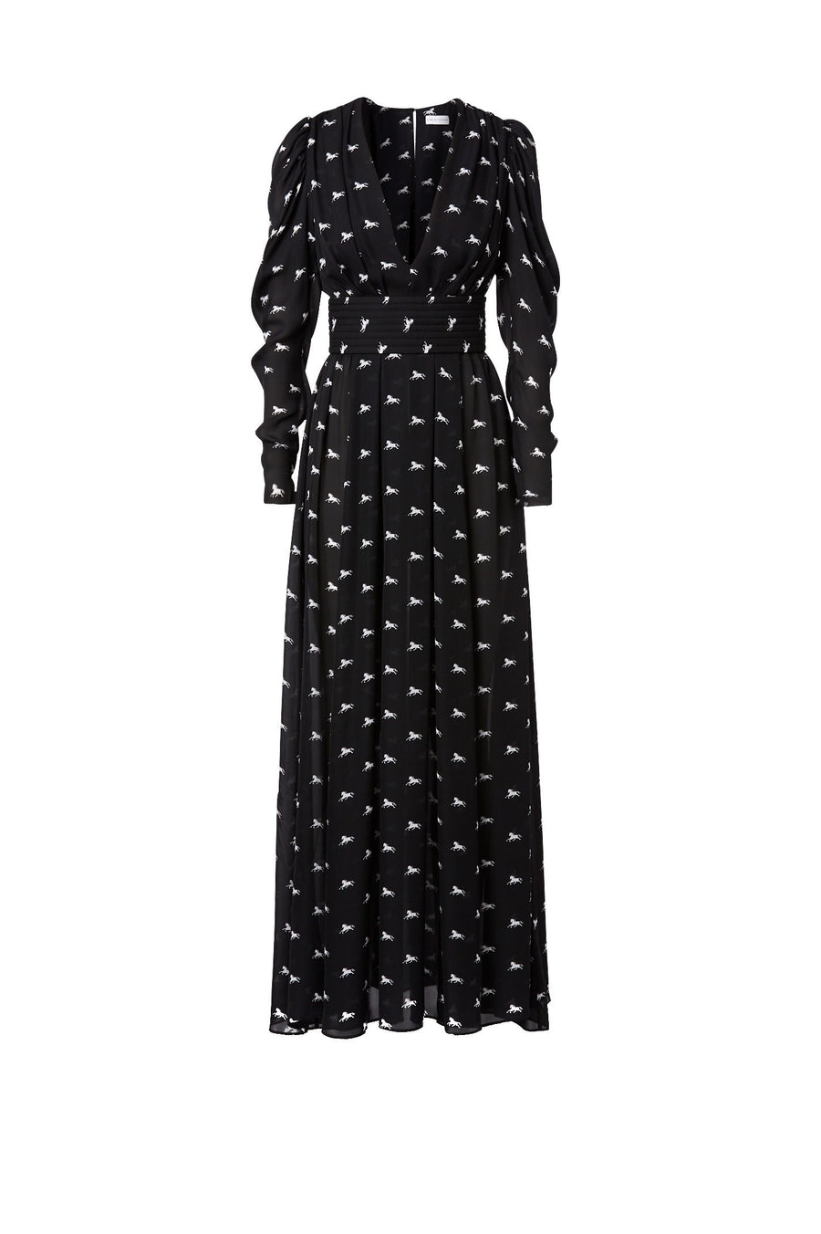 The plunging neckline and nipped waist of this playful silk pony print maxi is as seasonless as it is effortless