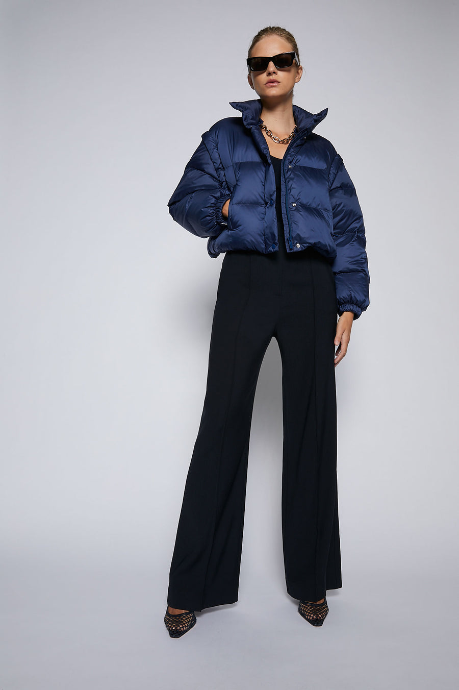 Puffer Cropped Jacket Navy