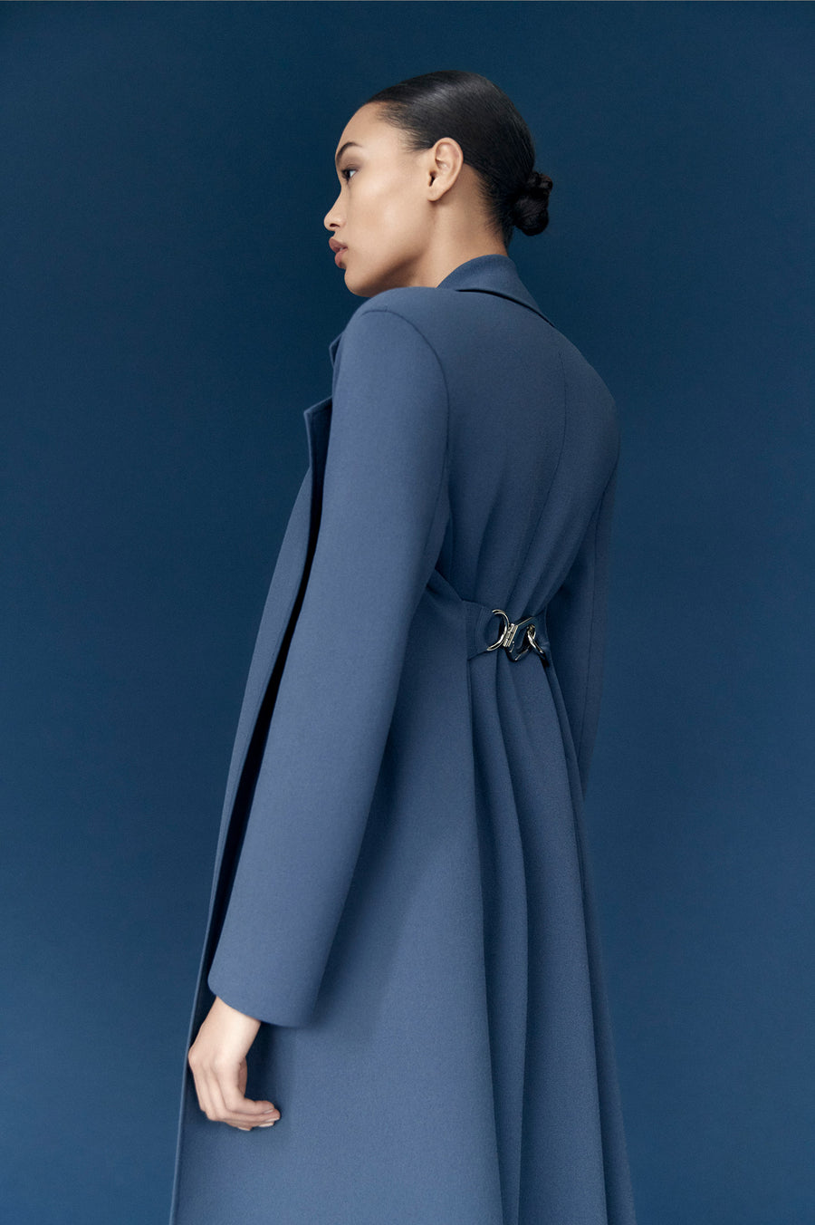 Crepe Knit Belted Coat Slate - Scanlan Theodore
