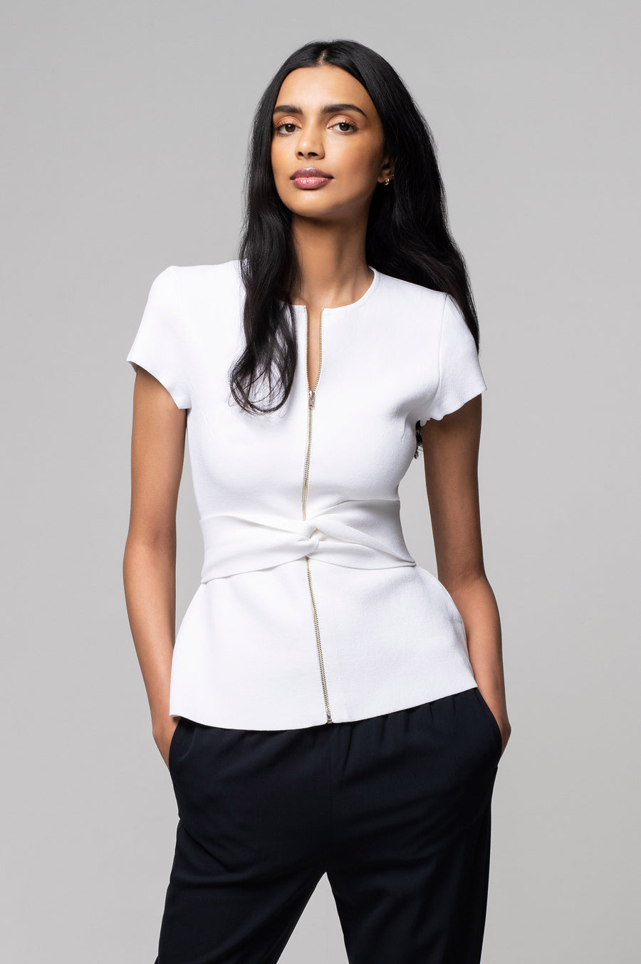 Crepe Knit Tailored Peplum Jacket Slate, zip at the front, slim fit