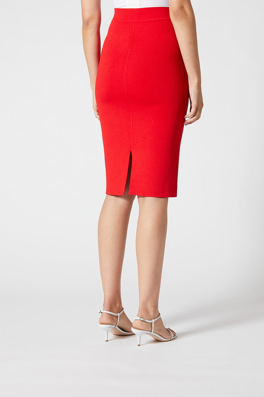 Crepe Knit Slit Back Skirt Red - Scanlan Theodore