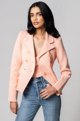 CREPE KNIT TAILORED JACKET PEACH