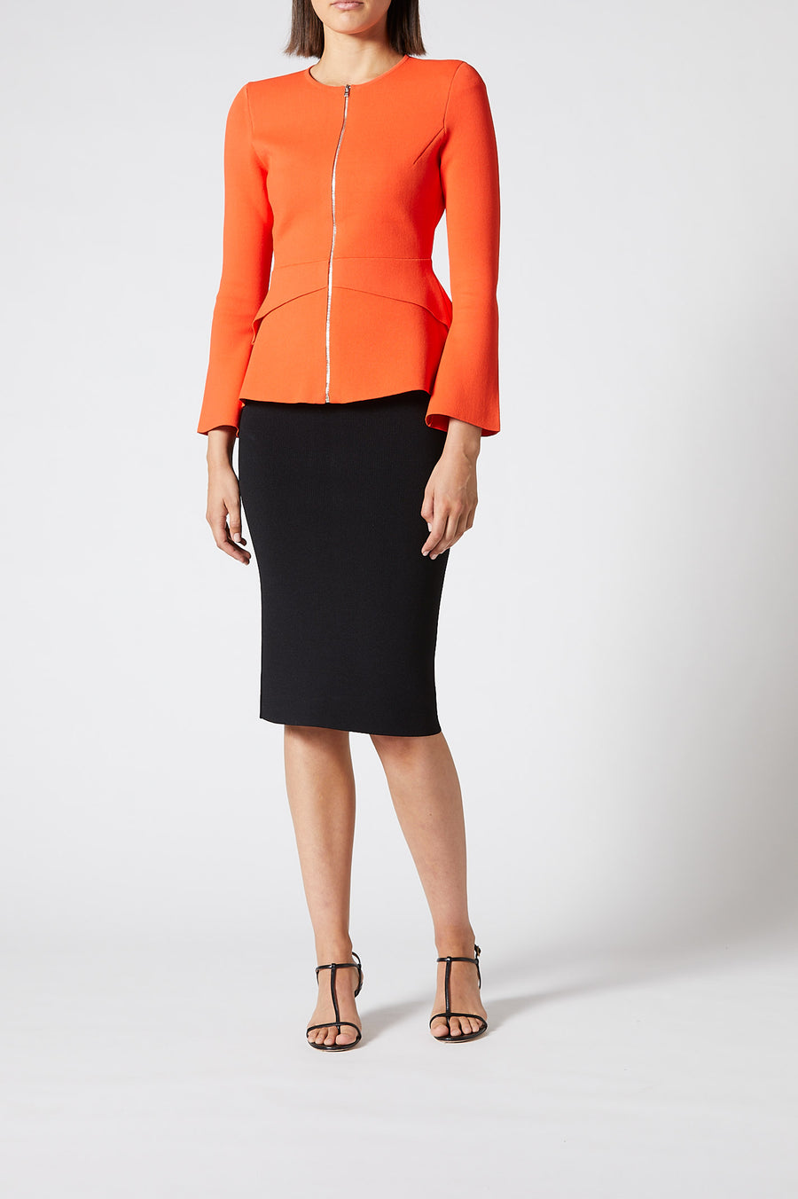 Crepe Knit Tailored Peplum Jacket Tangerine, zip at the front, slim fit