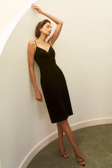 Chori dress Black, Wrap detail through bodice, Below the knee length