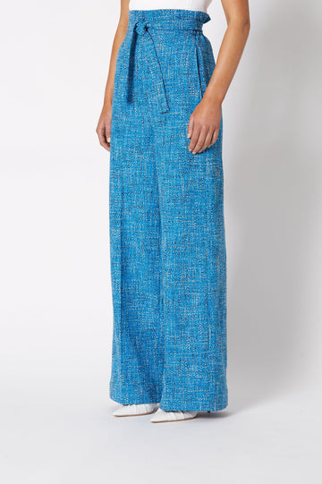 TWEED HIGH WAISTED TROUSER AZURE, Pleated waist, Wide leg