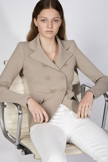 CREPE KNIT TAILORED JACKET CLAY