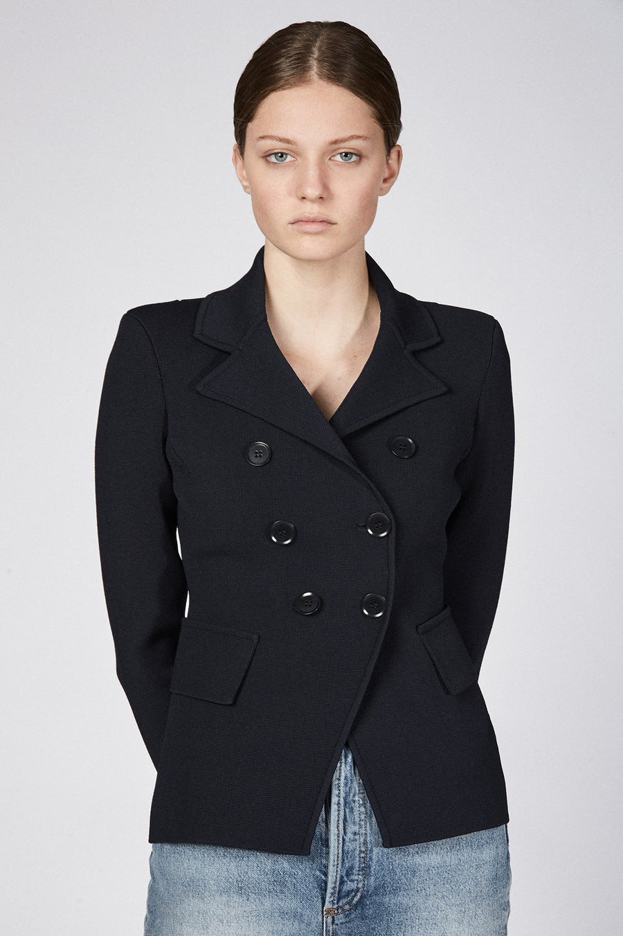 Expertly tailored in Italy for an ultra-flattering slim fit, this jacket holds its shape while flattering yours