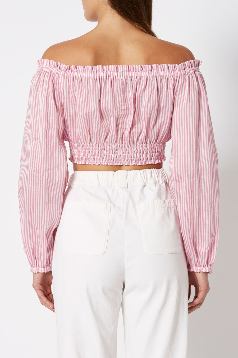 Stripe Voile Cropped Top Pink-White, regular fit, elasticated neck, sleeve and waist, cropped style, long blouson sleeves.
