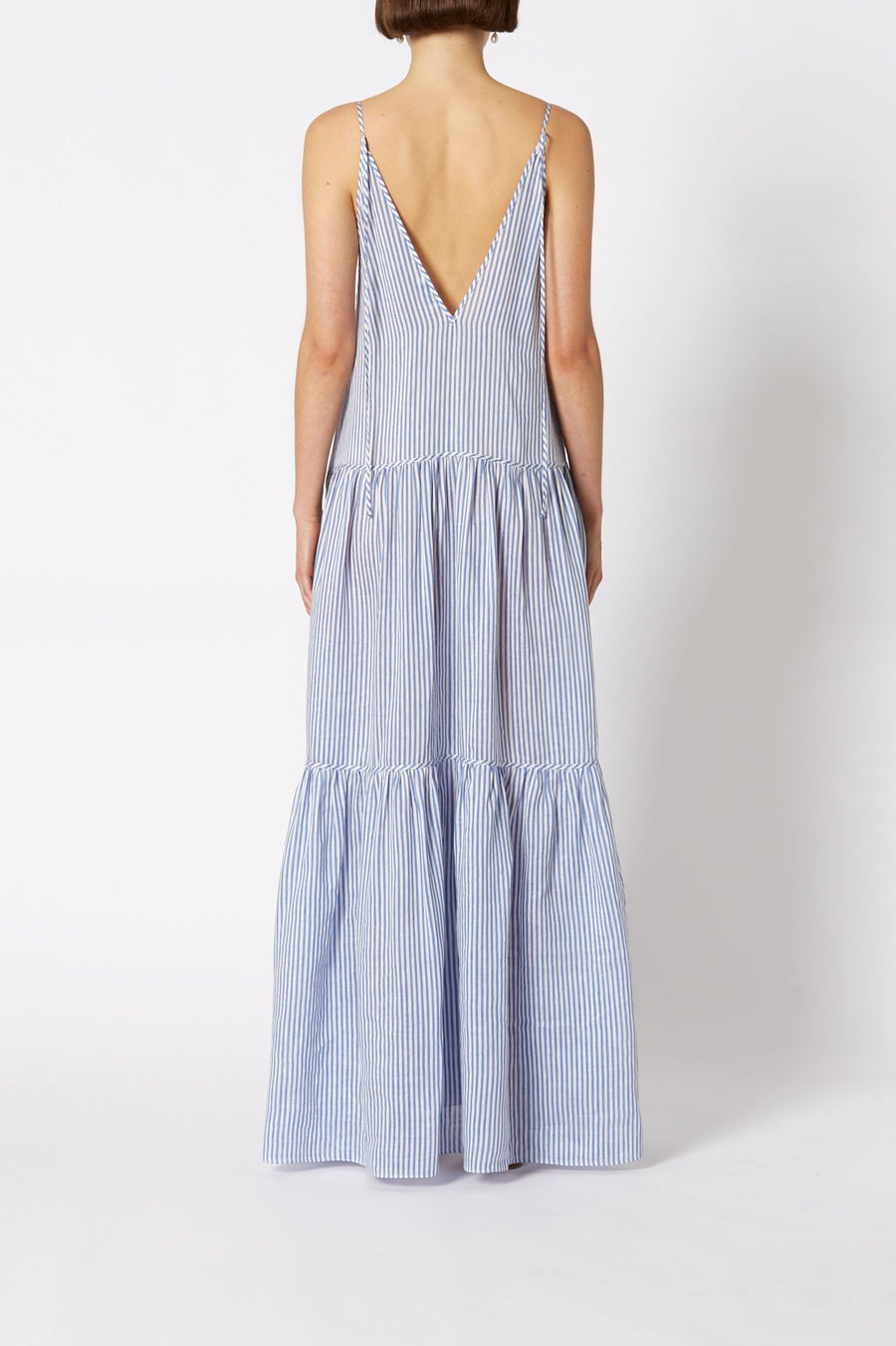 STRIPE VOILE DRESS WHITE-BLUE, Loose fit, Spaghetti straps