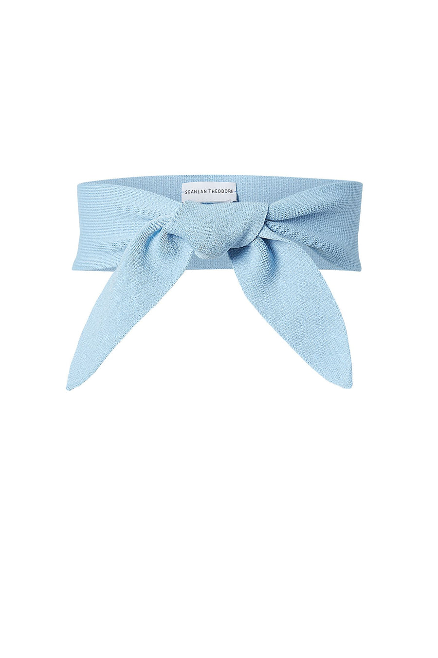 CREPE KNIT BELT PALE BLUE, Tapered, Tie front