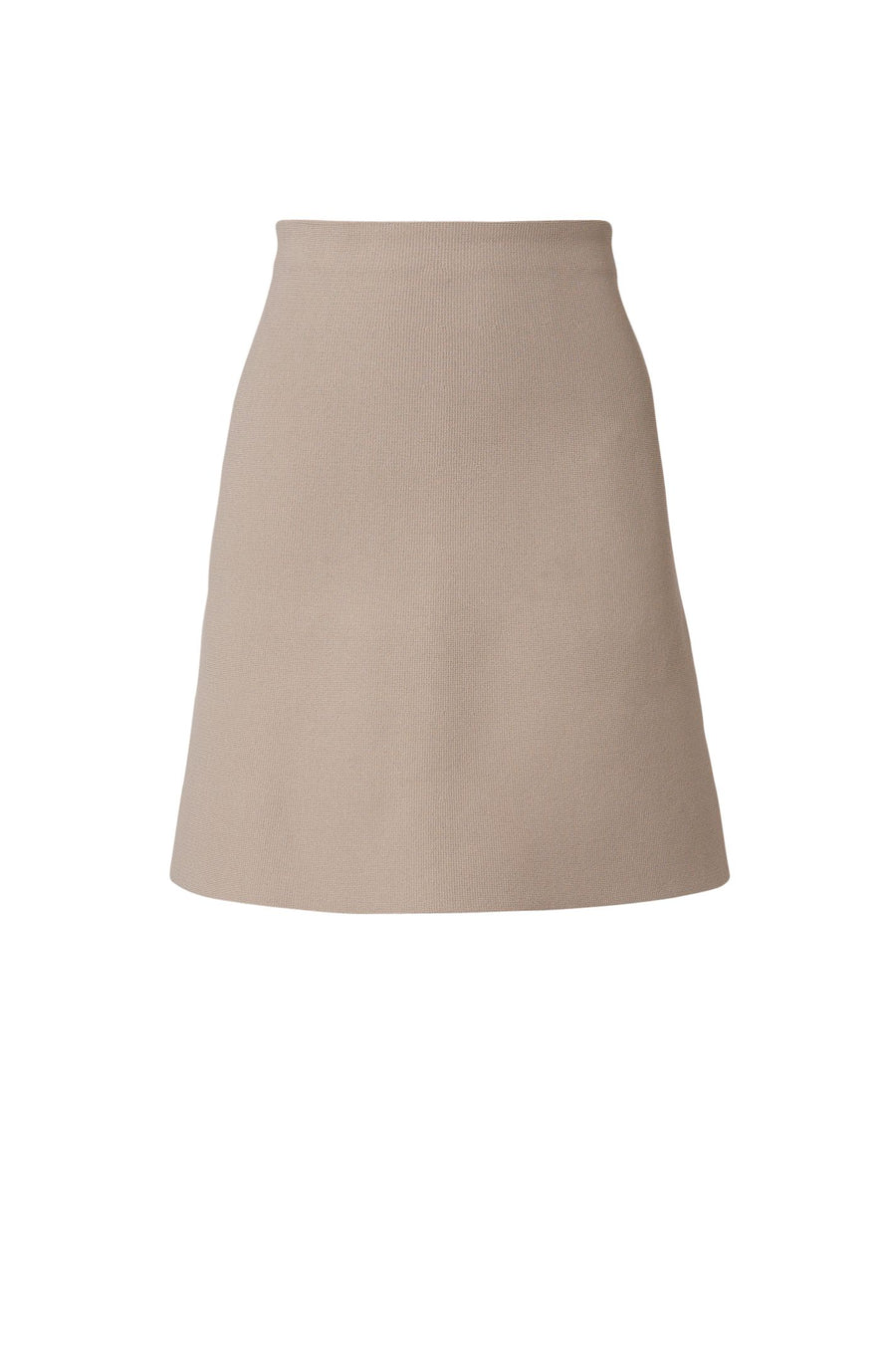 The Crepe Knit A-Line Skirt is fitted at the waist, has an A-line body, and sits above the knee
