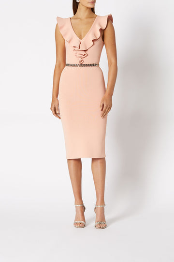 CREPE KNIT V NECK RUFFLE DRESS PEACH