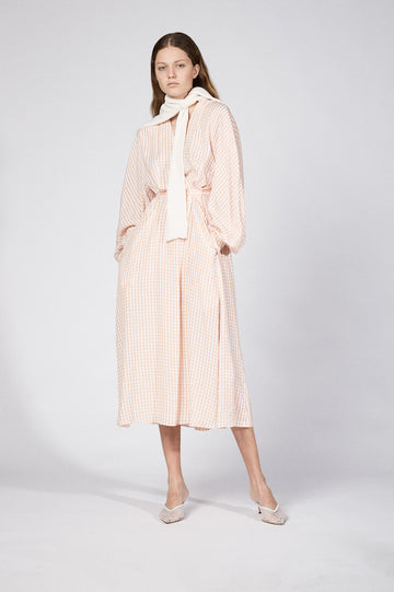 GINGHAM WRAP FRONT DRESS PEACH