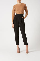 STRETCH REPTILE PLEAT PANT BLACK