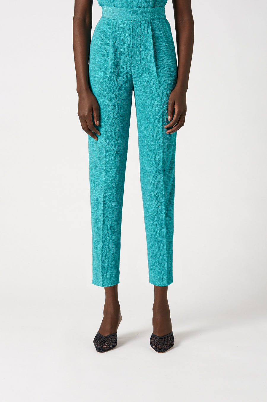 Embrace soft tailoring and modern textures with our Stretch Reptile Pleat Pant.