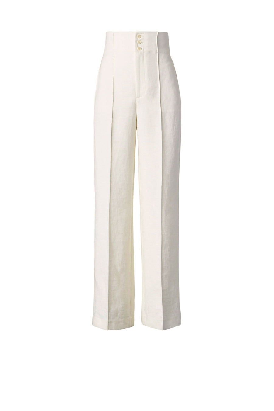 Sitting at a flattering high rise, the pant features front zip fastening with side pockets and falls to a tapered leg.