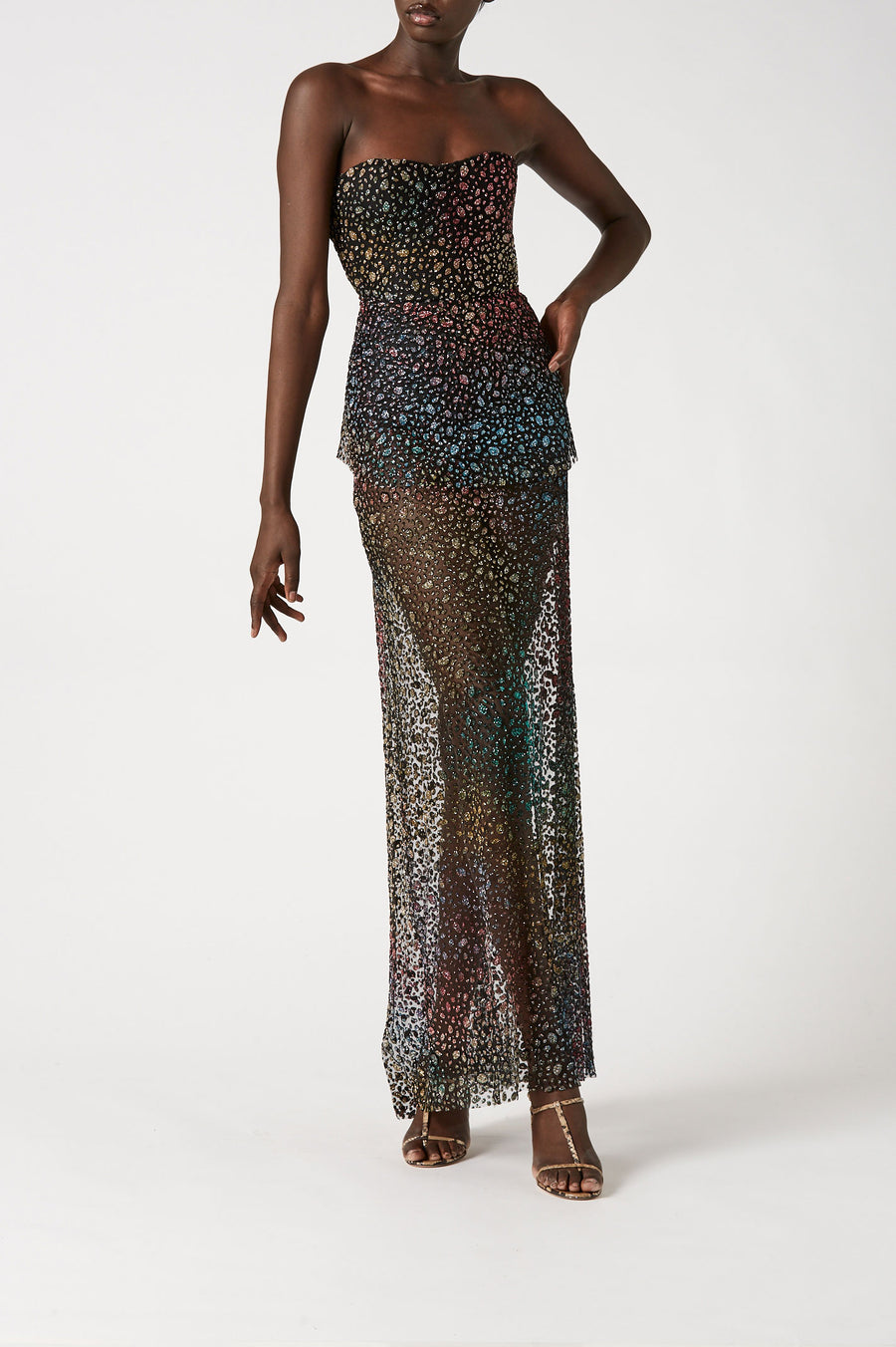 Indulge in high-impact glamour with our glitter gown