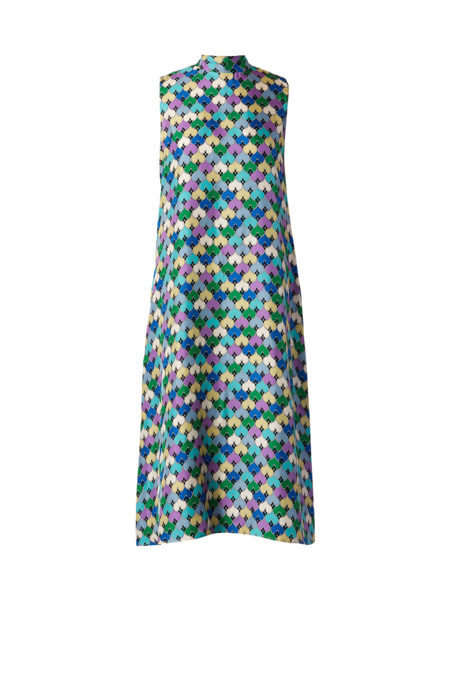 Designed in striking prints and vibrant tones, the garment is cut from a soft silk in a flattering 60's inspired shift silhouette.