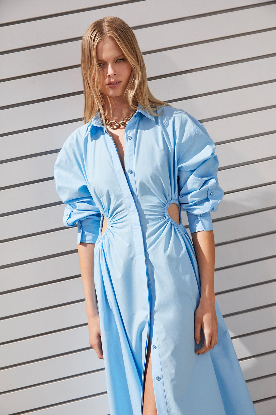 Cotton Cut Out Dress Pale Blue | Dresses | Scanlan Theodore – Scanlan  Theodore US