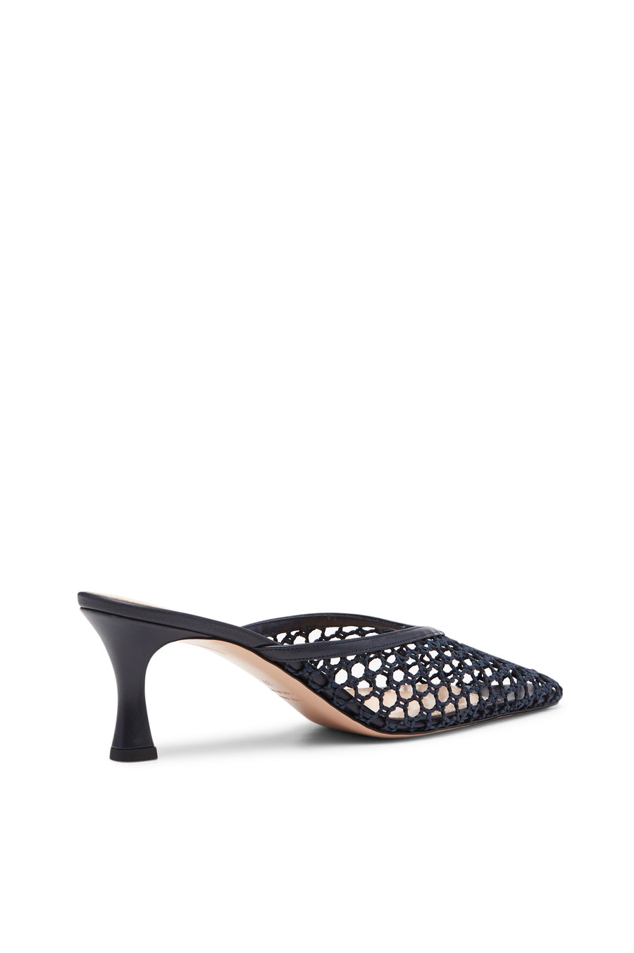 The slip on silhouette is crafted in Italy with luxurious leather and cotton mesh, set a top a 5.5cm heel.