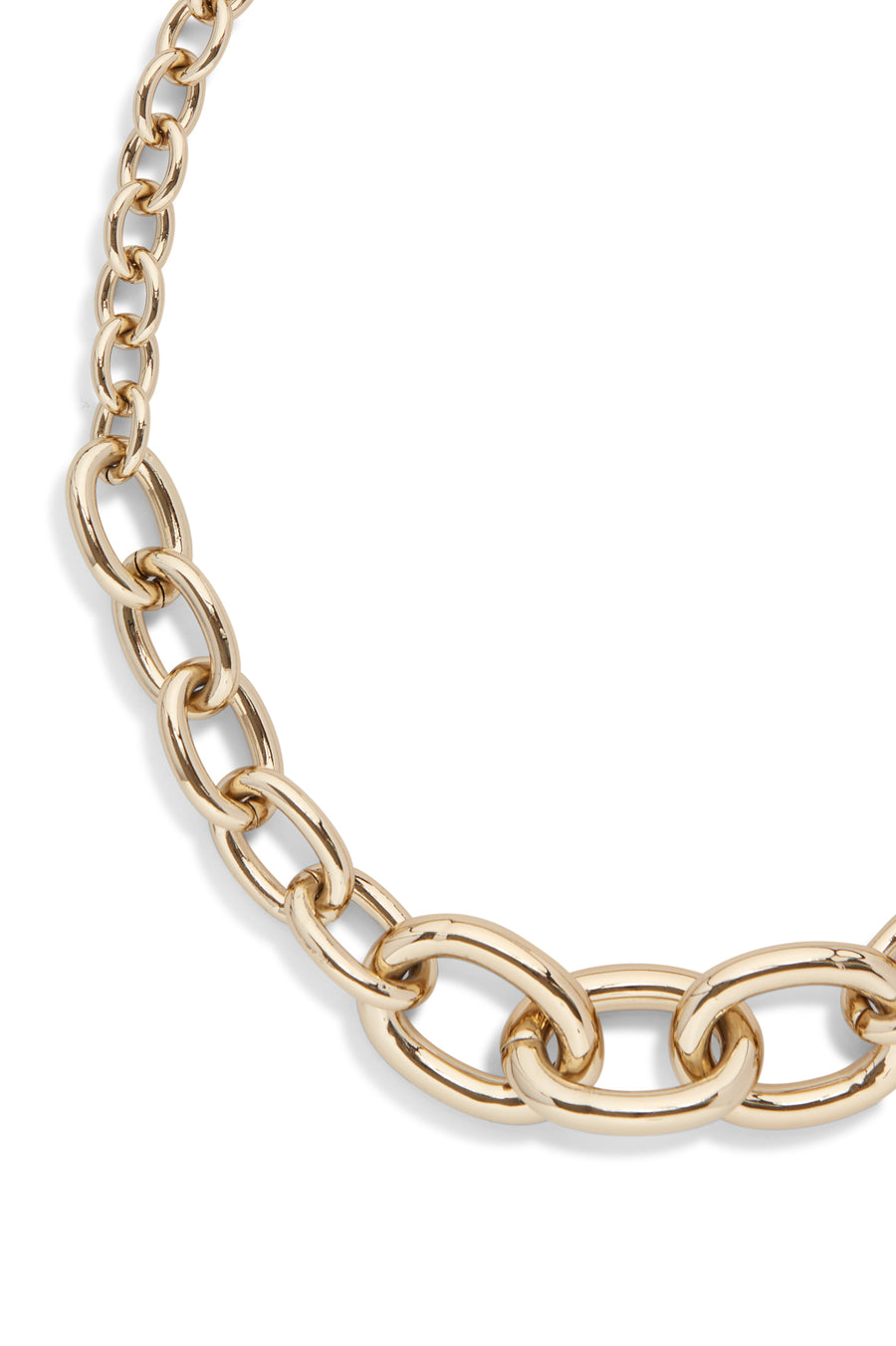 Constructed from gold chain hardware, the necklace features three statement links.