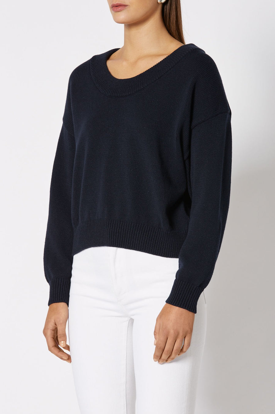 COTTON SPARKLE SWEATER 5 NAVY, Ribbed neckline, hem and sleeve openings