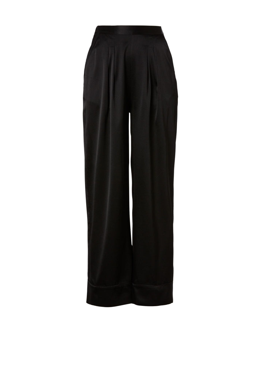 SATIN PIPED TROUSER BLACK