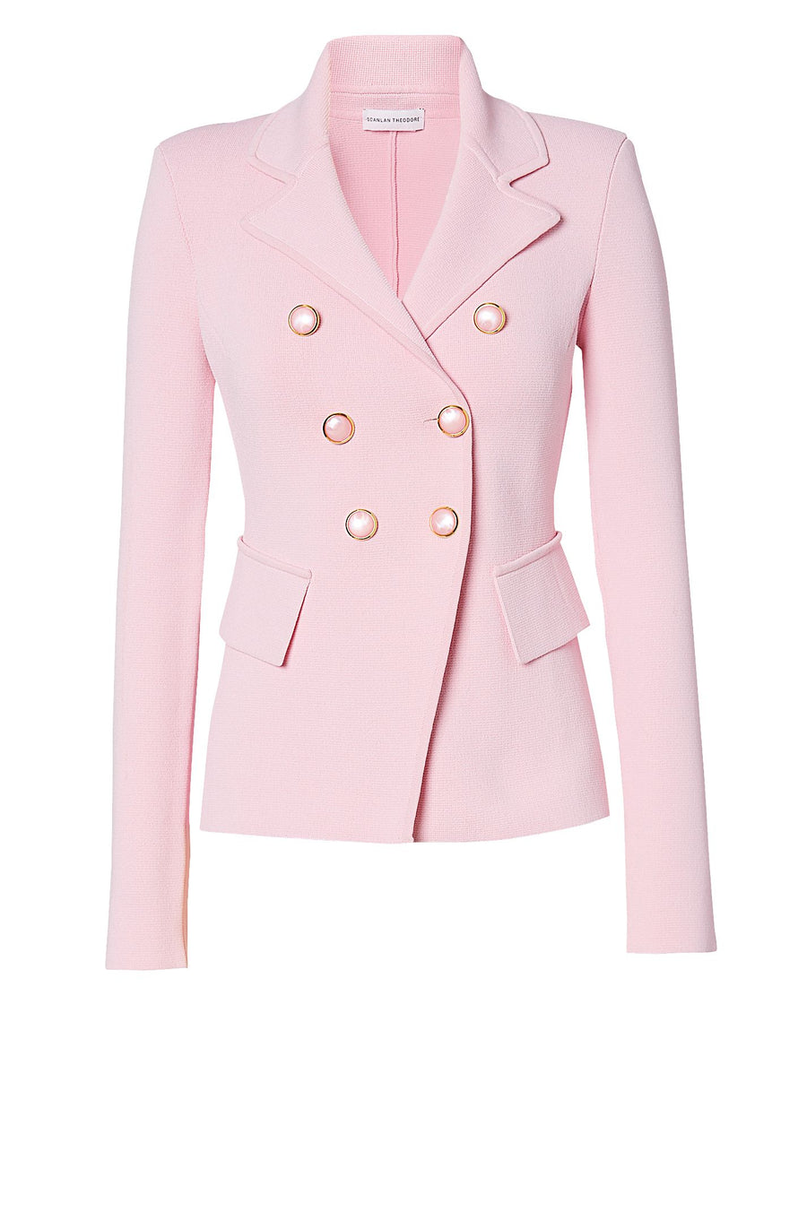 CREPE KNIT TAILORED JACKET PALE PINK
