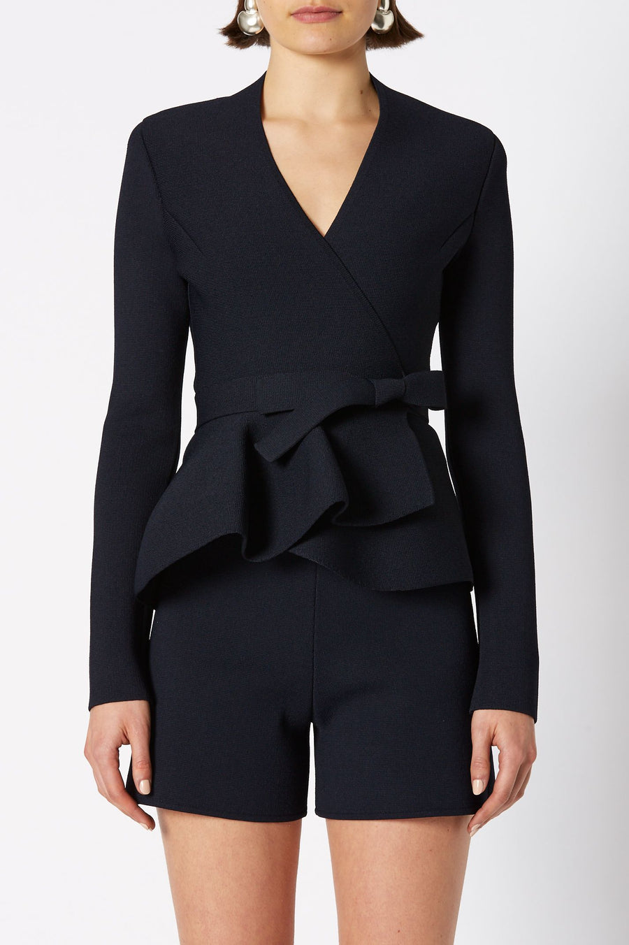 CREPE KNIT WRAP JACKET NAVY
