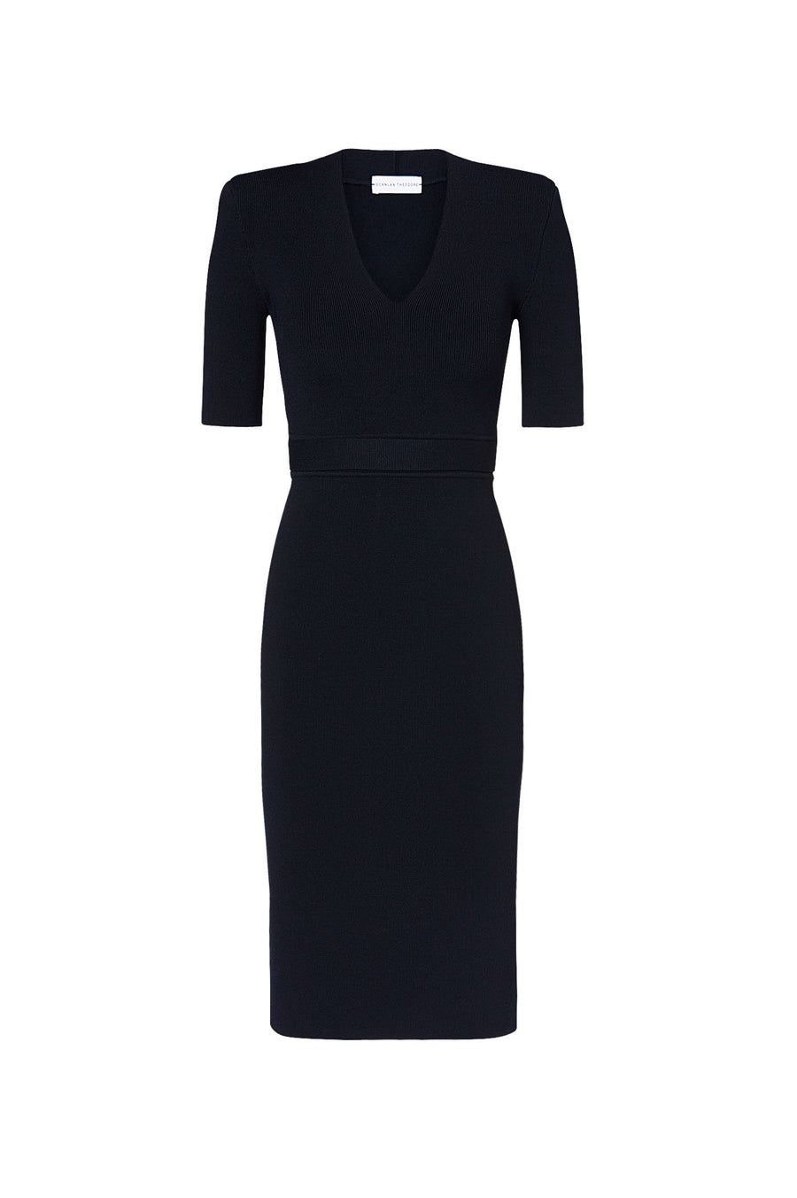 CREPE KNIT V NECK DRESS NAVY