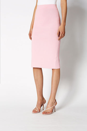 CREPE KNIT SLIT BACK SKIRT PALE PINK
