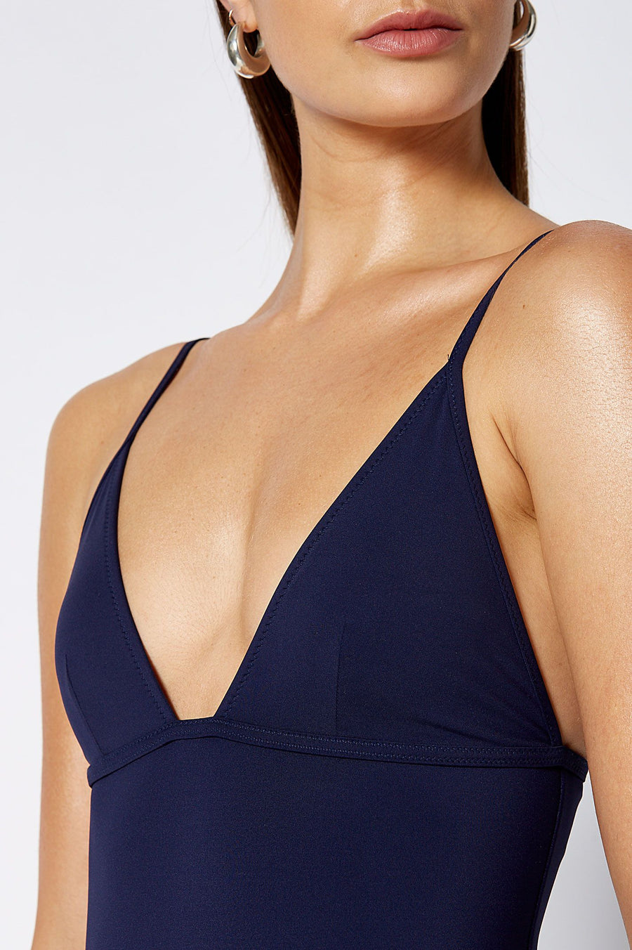 TRIANGLE ONE PIECE NAVY, Triangle cups, Back clasp fastening
