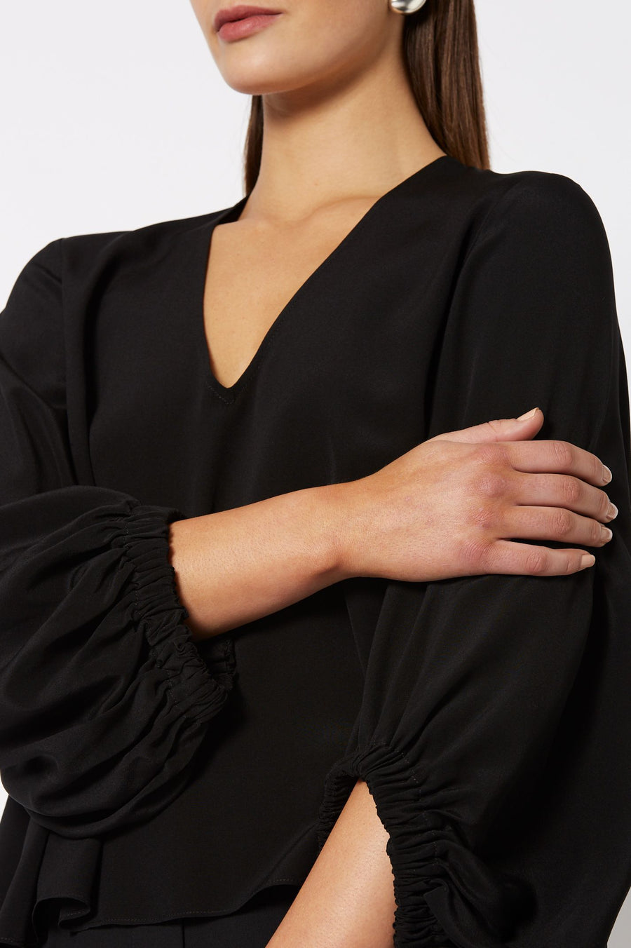 CDC V Neck Blouse Black, Relaxed Fit, ¾ Sleeves, elasticized cuffs, V- neckline