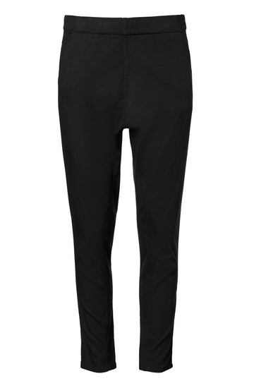 Low Rise Linen Boyfriend Trouser, sit on hips, relaxed fit through thighs, elastic waist, slanted front and welted back pockets, color black