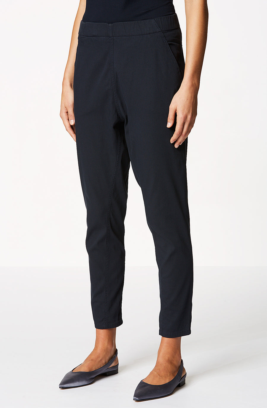 Washed Low Rise Boyfriend Trouser, sit on the hips, relaxed fit through thighs, elastic waist, slanted front and welted back pockets, color navy