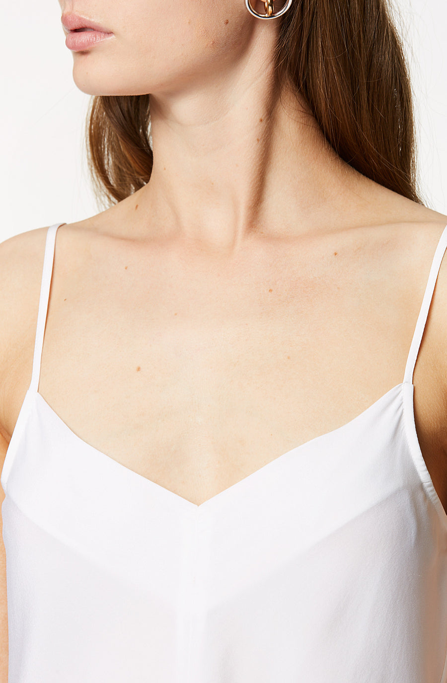 SILK V NECK CAMI OPTICAL WHITE