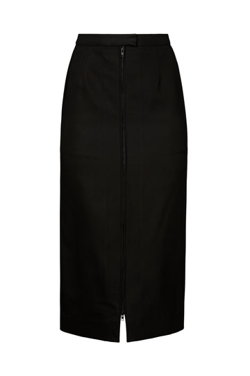 ZIP FRONT PENCIL SKIRT, BLACK color