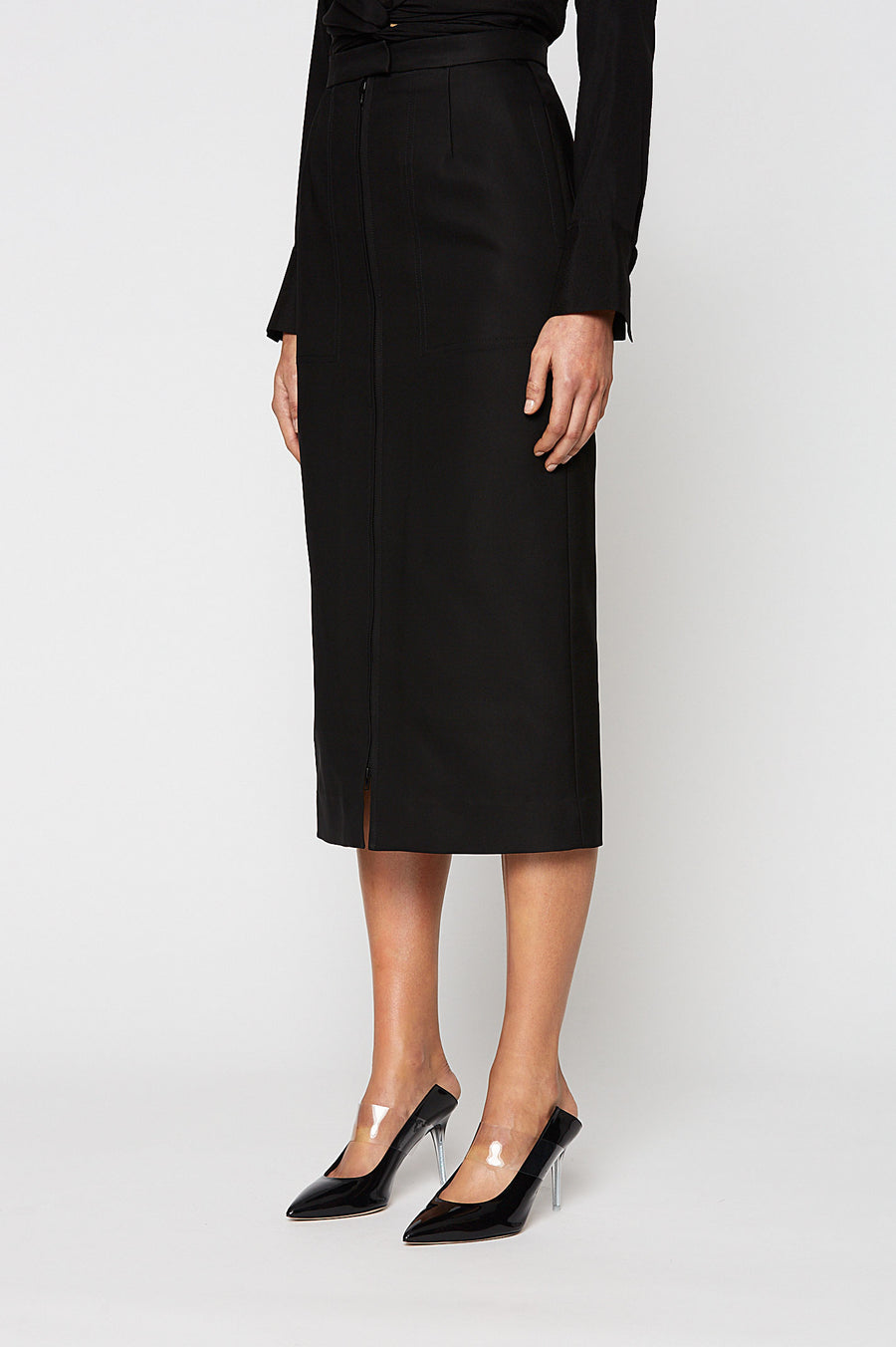 ZIP FRONT PENCIL SKIRT