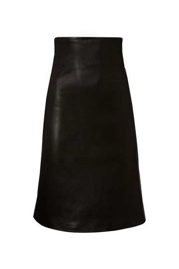 LEATHER HIGH WAIST SKIRT, A-LINE, falls just above the knee, BLACK color