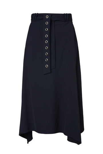 VISCOSE EYELET SKIRT, NAVY color