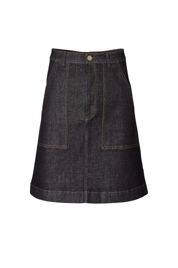 PATCH POCKET skirt, high waist, center zip fastening, patch pockets at front, falls just above knee, color Indigo