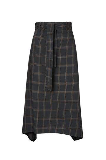 PLAID SKIRT, CHARCOAL color