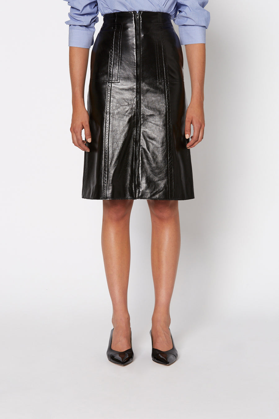 Leather Patent Skirt, 100% leather, zip fastening at the front, sits high on waist, falls just below knee, Color Black