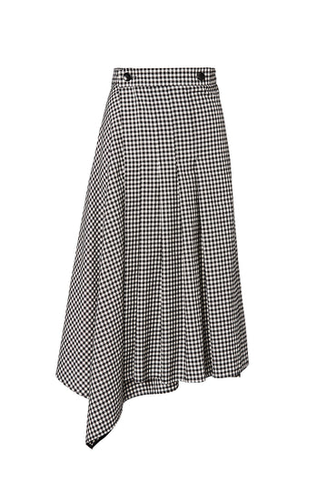 GINGHAM WRAP SKIRT, BLK-WHITE color