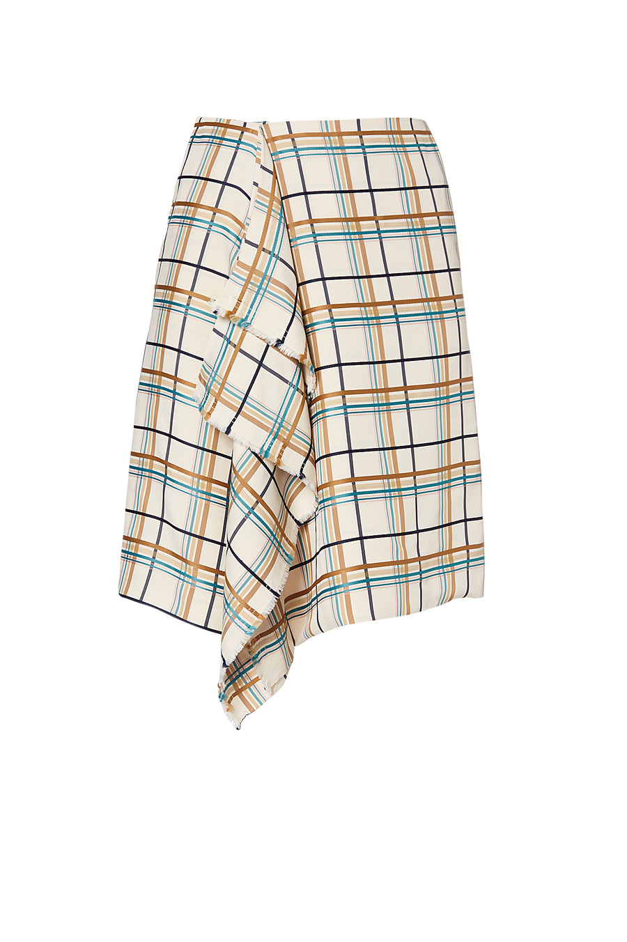 MULTI PLAID SKIRT, LATTE color