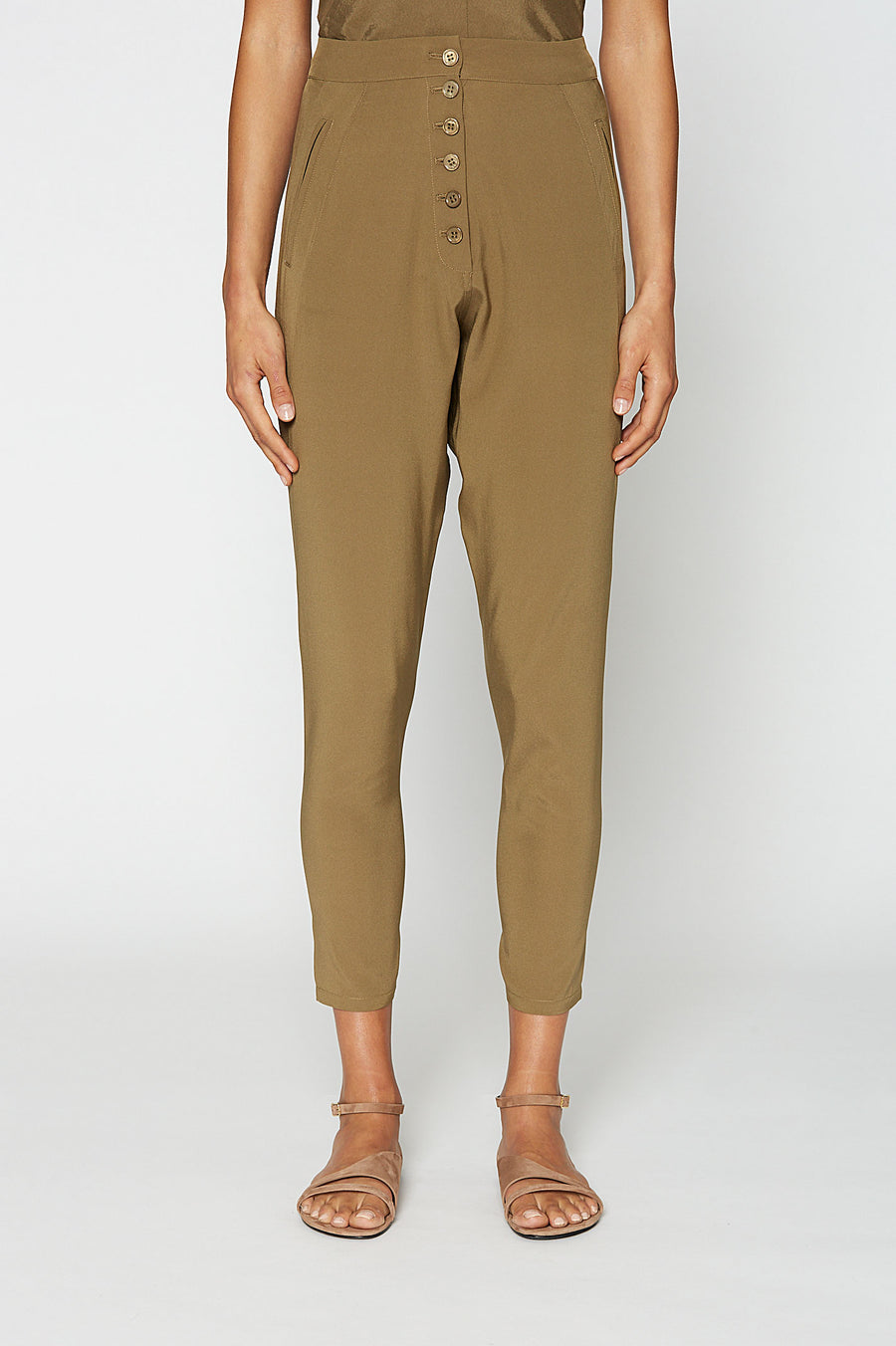 SILK LOW RISE BUTTON PANT, Center Buttons, Low Rise, Color Jungle